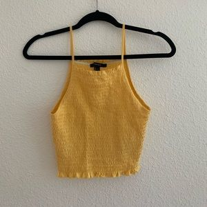 Forever 21 F21 Yellow Ribbed Halter Crop Top